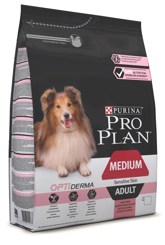 ProPlan 3кг. Корм сухой для собак средних пород, лосось