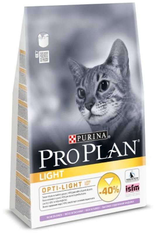 Pro Plan Light 1,5кг. Корм сухой для кошек, индейка