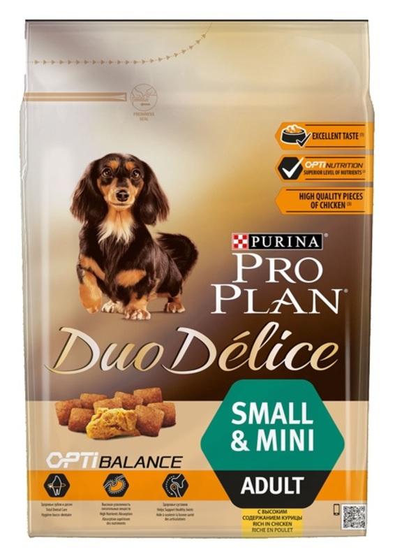 Корм сухой  для собак  мелких пород  ProPlan Duo Delice курица