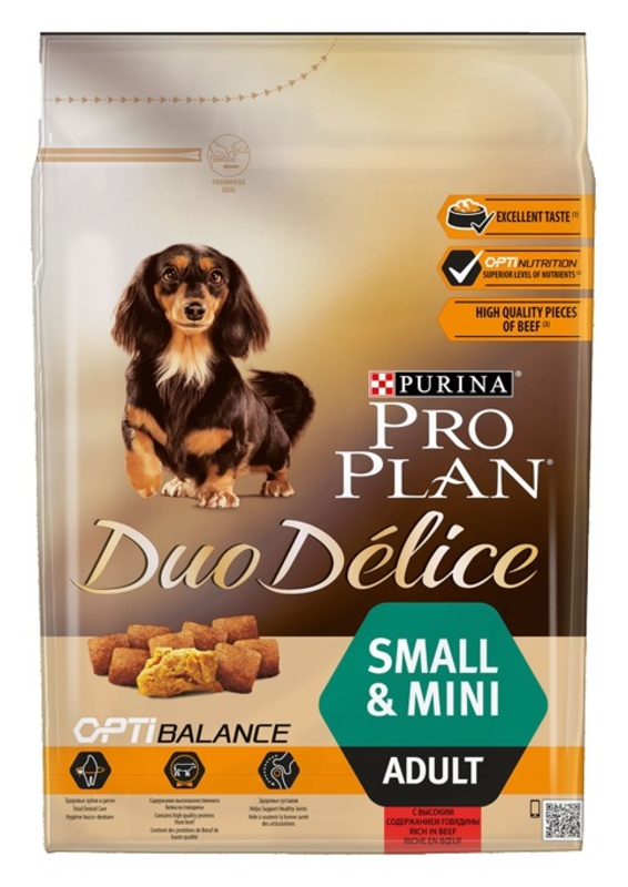 ProPlan Duo Delice 2кг. Корм сухой  для собак  мелких пород, говядина