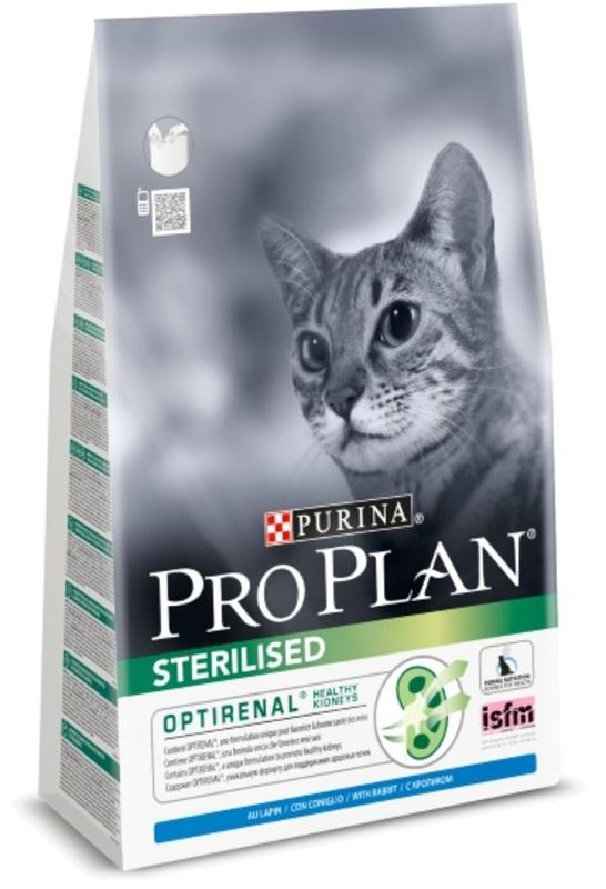Pro Plan Sterilised 3кг. Корм сухой для кошек, кролик
